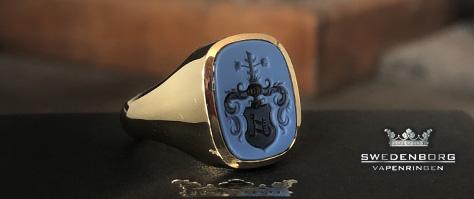 klackring med stiktade agat, heraldic vapengravyr, Stockholm